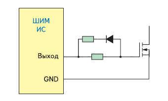 Схема, с помощью которой можно ограничить выходной ток контроллера ШИМ