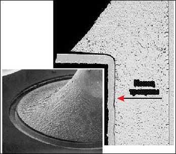 Рис. 23. Дефект бессвинцовой пайки - поднятие галтели. (Распространенное поднятие галтели было впервые описано в программах NCMS и IDEALS.) *Причиной отделения галтели припоя от контактной площадки считается низкая локальная температура плавления, которая обусловлена загрязнением свинцом бессвинцовых припоев Sn-xAg-yBi, не Sn-58Bi. *Sn-Bi-Pb образует фазу с температурой плавления 96 °С. *При дополнительных исследованиях у других бессвинцовых припоев также был обнаружен данный дефект, хоть и не в столь сильной степени.
