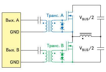 Для управления затворами в полумостовых преобразователях рекомендуются два отдельных трансформатора