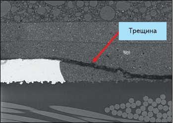 Рис. 8. Трещина внутри микросхемы  (вверху - корпус микросхемы, внизу - стеклотекстолит)