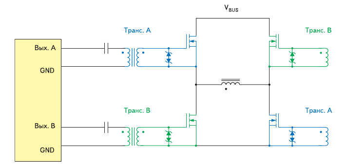 Схема мостового преобразователя с двумя трансформаторами для повышения надежности