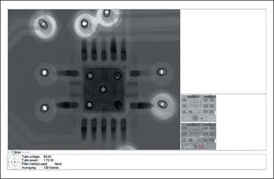 Рис. 9. Пример рентгеновского снимка QFP-микросхемы, дефект - непропай