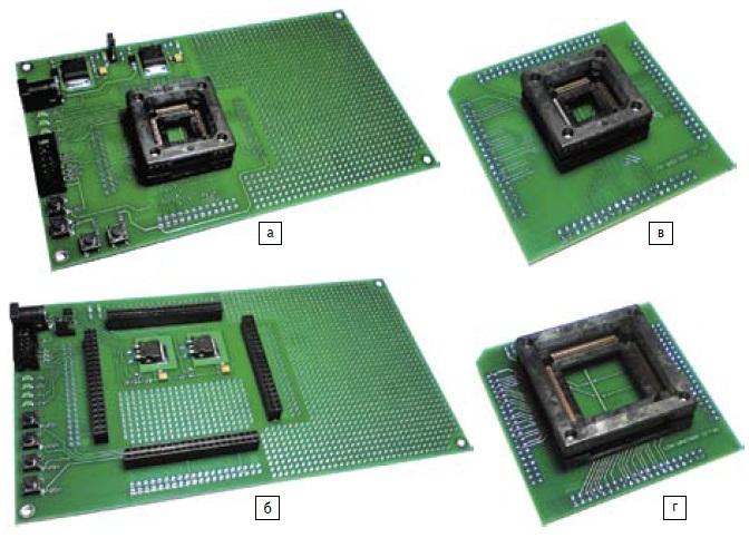 Общий вид отладочных комплектов с ZIF-разъемом и адаптеров к ним