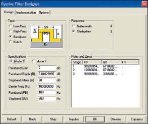 Диалоговое окно синтеза пассивных фильтров (вкладка Design)