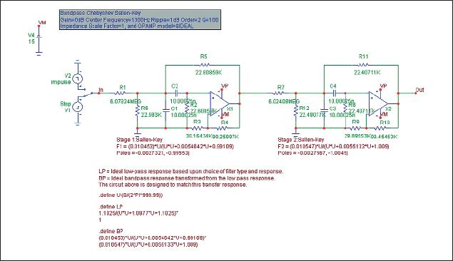 Результат синтеза принципиальной схемы активного фильтра