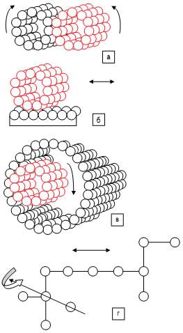 Молекулярные аналоги наиболее распространенных механических передач: а) молекулярный аналог цилиндрической зубчатой передачи с внешним зацеплением; б) молекулярный аналог реечной зубчатой передачи [7]; в) молекулярный аналог цилиндрической зубчатой передачи с внутренним зацеплением; г) молекулярный аналог фрикционной передачи