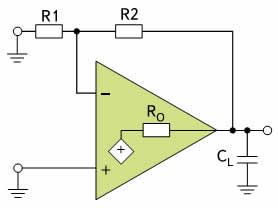 Упрощенная схема операционного усилителя с емкостной нагрузкой