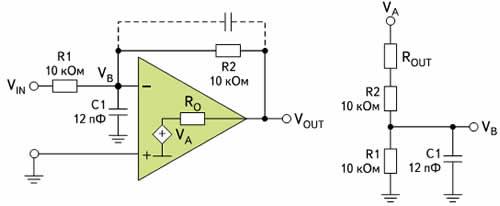 Емкостная нагрузка на входе — инвертирующая конфигурация