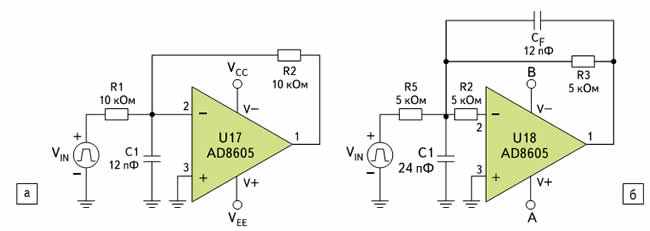 Входной фильтр: а) без коррекции; б) с коррекцией и меньшими значениями импедансов