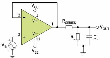 Внешний резистор Rselies изолирует обратную связь усилителя от емкостной нагрузки