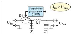 Упрощенная схема понижающего импульсного стабилизатора (Buck regulator)