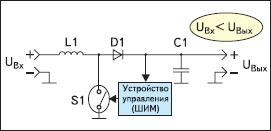 Упрощенная схема повышающего импульсного стабилизатора (Boost regulator)