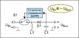 Упрощенная схема инвертирующего импульсного стабилизатора (Buck-Boost regulator), преобразующего положительное входное напряжение в отрицательное выходное