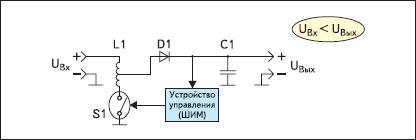 Упрощенная схема повышающего импульсного стабилизатора, ток переключения ключа которого меньше, чем выходной ток (Currrent-Boosted Boost regulator)