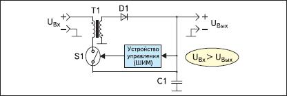 Упрощенная схема понижающего импульсного стабилизатора, ток переключения ключа которого меньше, чем выходной ток (Currrent-Boosted Buck regulator)