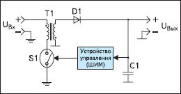 Упрощенная схема обратноходового импульсного стабилизатора (Flyback regulator)
