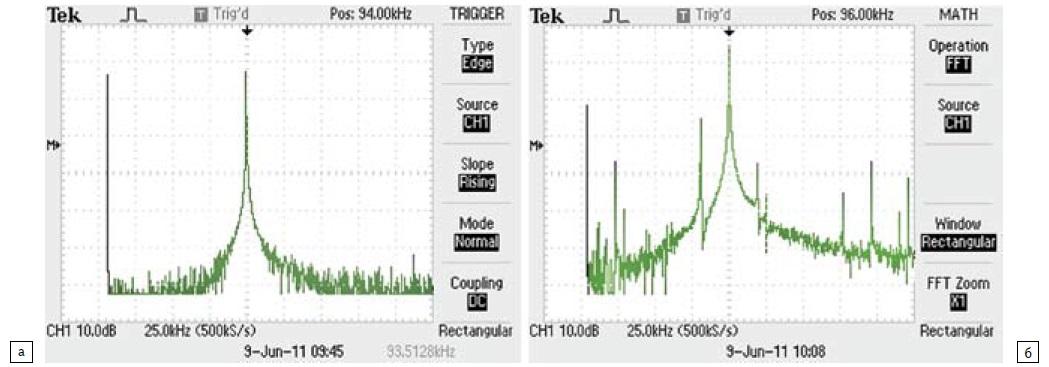 Спектры колебаний торца инструмента при оптимальном согласовании и при рассогласовании