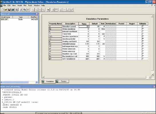 Диалоговое окно Simulation Parameters