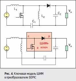Ключевая модель ШИМ в преобразователе SEPIC