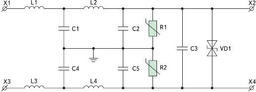 Рис. 5. Принципиальная схема блока ЭМС
