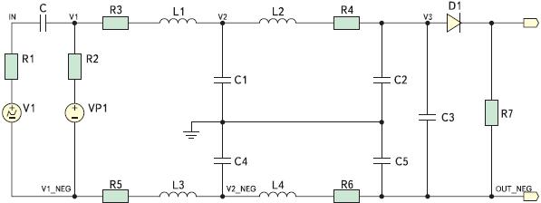 Рис. 6. Моделируемая схема, где V1 — высоковольтный генератор; V2 — источник питания постоянного тока; R1, R2 — внутренние сопротивления источников напряжения; R3–R6 — внутренние активные сопротивления дросселей; R7 — эквивалентное сопротивление нагрузки