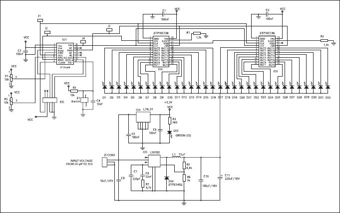 Принципиальная схема платы с массивом из 32 светодиодов