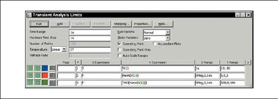 Диалоговое окно FFT1 Analysis Limits