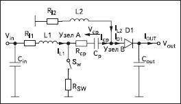 Схема преобразователя SEPIC с учетом паразитных параметров