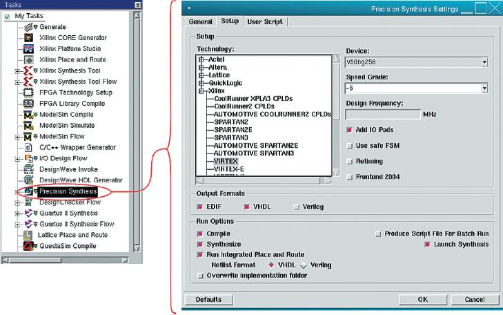 Рис. 3. Запуск Precision Synthesis из системы HDL Designer