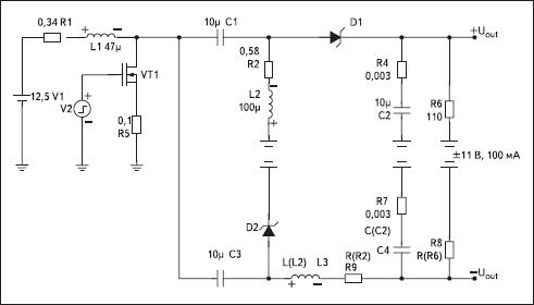 Схема для моделирования двуполярного преобразователя