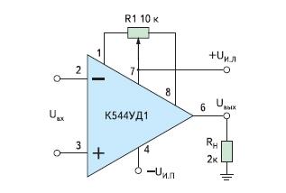 Схема включения операционного усилителя К544УД2