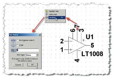 Присвоение имен внешним цепям символа операционного усилителя LT1008