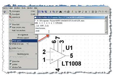 Проверка порядка узлов, передаваемого символом LT1008 в подсхему модели