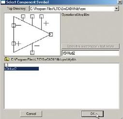 Выбор операционного усилителя К544УД2 из библиотеки пользователя  Для проверки функционирования схемного элемента можно собрать к