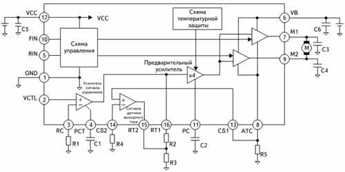 Структура и типовое включение микросхемы BA6950FS