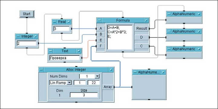 Рис. 3. Простая программа, содержащая разные типы переменных