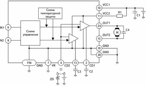 Структура и типовое включение микросхемы BA6229BFP-Y