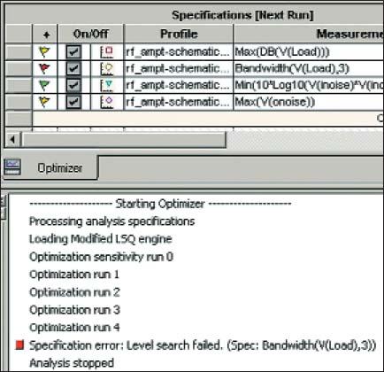 Отображение четырех попыток выполнения моделирования в диалоговом окне анализа Optimizer