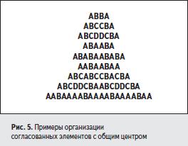 Примеры организации согласованных элементов с общим центром