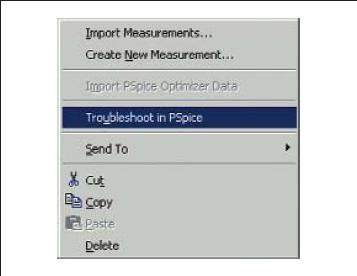 Выбор опции Troubleshoot in PSpice в всплывающем меню