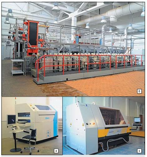 а) Установка функционального контроля Spea 4040; б) двухрядная химико-гальваническая линия Pal-Galvouг; в) сверлильный станок posalux ultгaspeed 3600