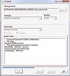 Окно программы-загрузчика CM3WSD