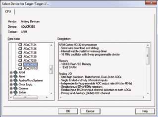 Диалоговое окно выбора МК целевой системы Select Device for Target