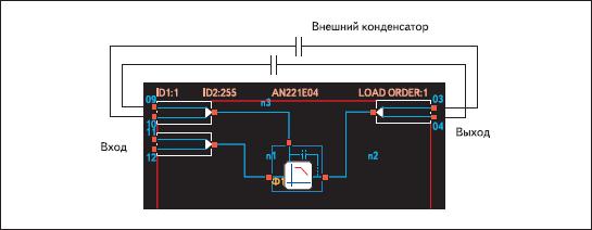 Условное обозначение и схема включения билинейного фильтра низкой частоты с внешними конденсаторами