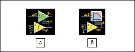 Условные обозначения: а) усилителя и б) фильтра с контролем полярности