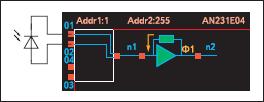 Условное обозначение и схема подключения трансимпедансного усилителя