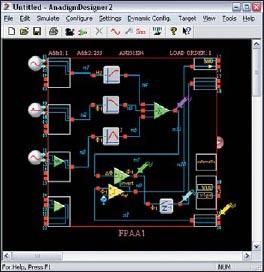 Окно интерфейса программы AnadigmDesigner2 для проектирования схем на базе ПАИС
