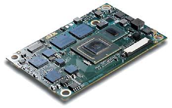 Рис. 1. 'Компьютер на модуле' nanoETXexpress-SP, имеющий размеры 55x84 мм и выполненный на базе нового сверхмалопотребляющего ультрамобильного процессора Intel Atom Z5xx