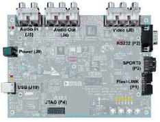 Рис. 1. Отладочная плата ADSP-BF533 EZ-KIT Lite (выделены разъемы для подключения внешних устройств)