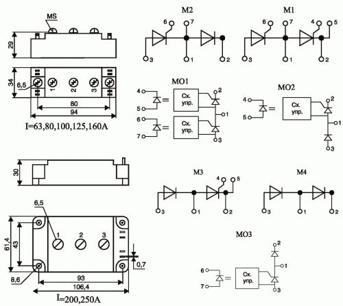 Рис. 2. Тиристорно-диодные модули